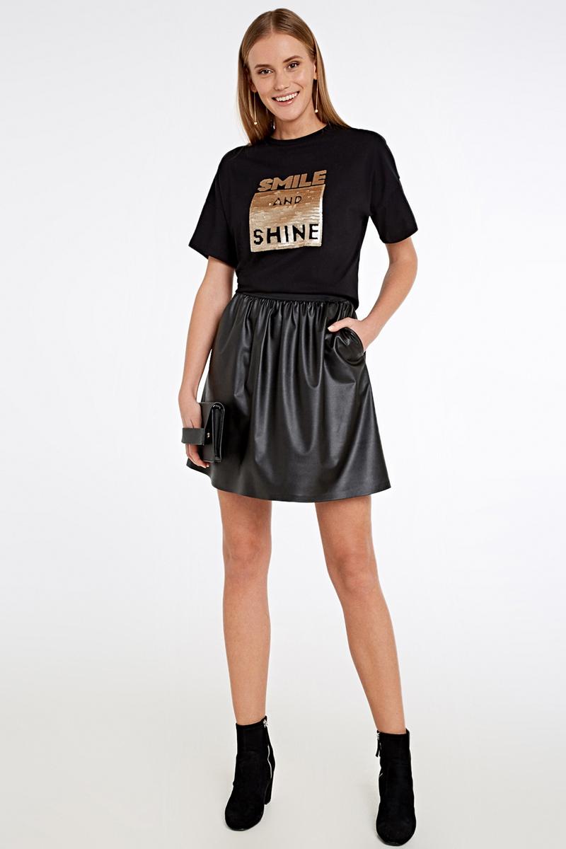 Футболка женская Concept Club Elef, цвет: черный. 10200110290_100. Размер XL (50)