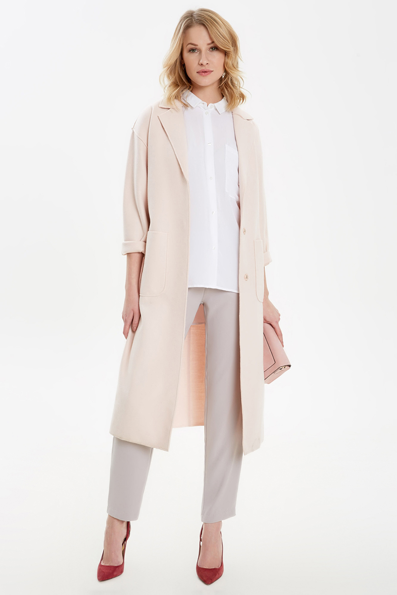 Пальто женское Concept Club Polvori, цвет: кремовый. 10200610043_9100. Размер S (44)10200610043_9100Пальто женское Concept Club Polvori выполнено из качественного материала. Модель с отложным воротником застегивается на пуговицы.