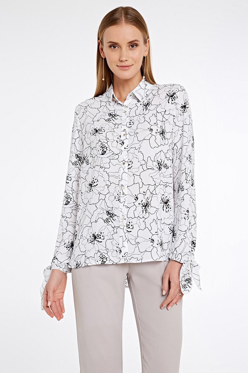 Блузка женская Concept Club Aragorn, цвет: белый, черный. 10200260235_9000. Размер XL (50) куртка женская concept club jordi цвет черный 10200130144 100 размер xl 50