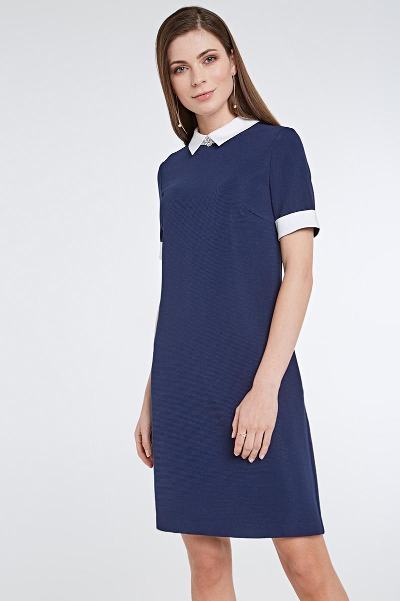 Платье Concept Club Dain, цвет: темно-синий. 10200200424_600. Размер L (48)10200200424_600Платье Concept Club Dain выполнено из качественного материала. Модель с отложным воротником и короткими рукавами сзади застегивается на молнию.