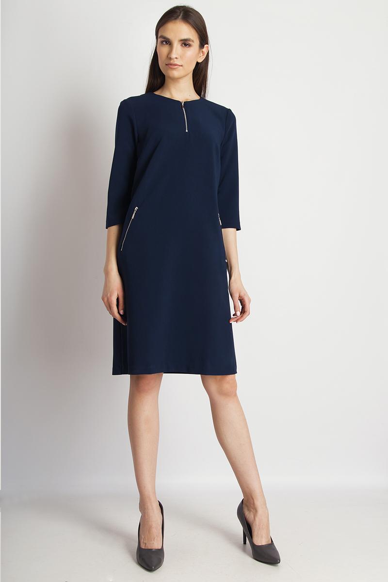 Платье Finn Flare, цвет: темно-синий. B18-11041_101. Размер M (46) платье finn flare цвет темно синий черный b18 11124 размер m 46