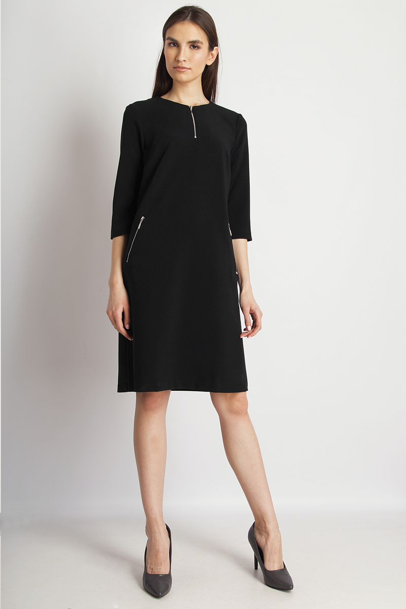 Платье Finn Flare, цвет: черный. B18-11041_200. Размер M (46) платье finn flare цвет темно синий черный b18 11124 размер m 46