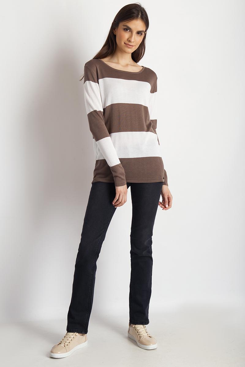 Джемпер женский Finn Flare, цвет: светло-коричневый. B18-11107_623. Размер L (48)B18-11107_623Джемпер от Finn Flare выполнен из вискозно-акриловой пряжи. Модель с длинными рукавами и круглым вырезом горловины.