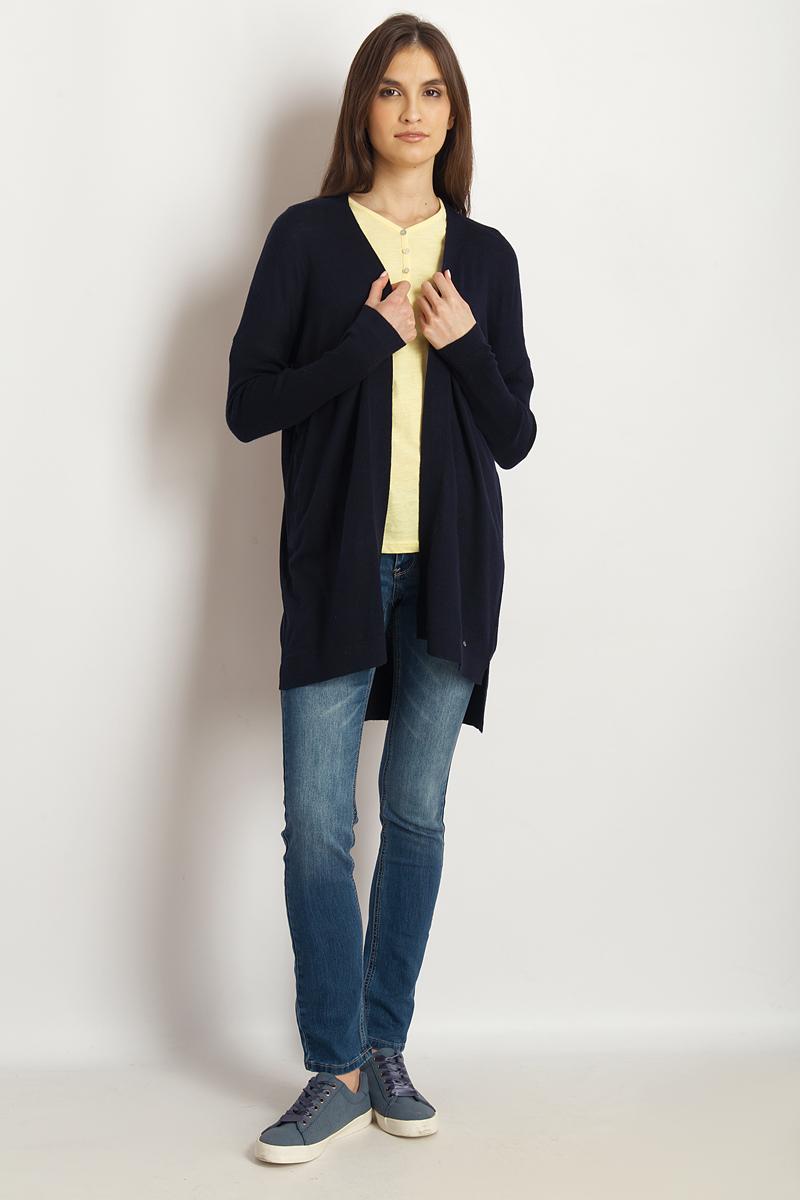 Кардиган женский Finn Flare, цвет: темно-синий. B18-12110_101. Размер L (48) лонгслив женский finn flare цвет темно синий b18 11098 101 размер m 46