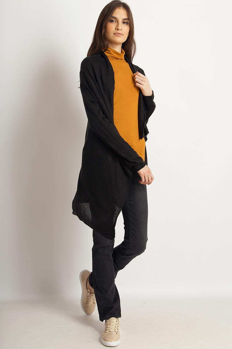 Кардиган женский Finn Flare, цвет: черный. B18-12113_200. Размер S (44)B18-12113_200Кардиган от Finn Flare выполнен из акриловой пряжи. Модель свободного кроя с длинными рукавами и воротником-апаш не имеет застежки.