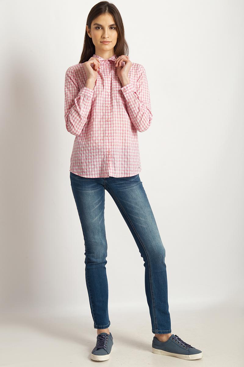 Блузка женская Finn Flare, цвет: розовый. B18-32067_811. Размер XL (50)B18-32067_811Блузка от Finn Flare выполнена из натурального хлопка. Модель с длинными рукавами и отложным воротником застегивается на пуговицы, на груди дополнена накладным карманом.