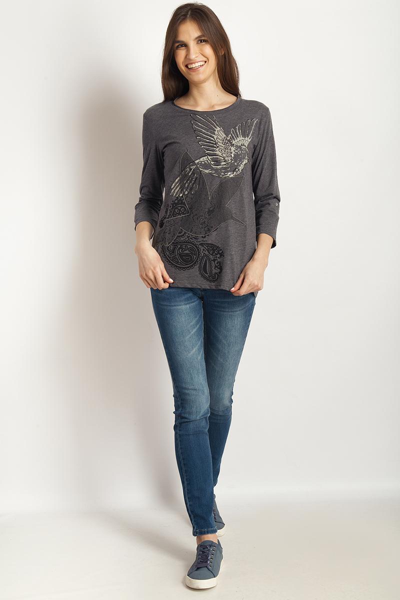 Футболка женская Finn Flare, цвет: темно-серый меланж. B18-32073_252. Размер L (48)B18-32073_252Стильная женская футболка Finn Flare, выполненная из эластичного хлопка, необычайно мягкая и приятная на ощупь, не сковывает движения и позволяет коже дышать, обеспечивая комфорт. Модель с круглым вырезом горловины и рукавами 3/4 имеет оригинальное оформление спереди. Вырез горловины дополнен трикотажной бейкой, что предотвращает деформацию при носке.Футболка Finn Flare станет отличным дополнением к вашему гардеробу.
