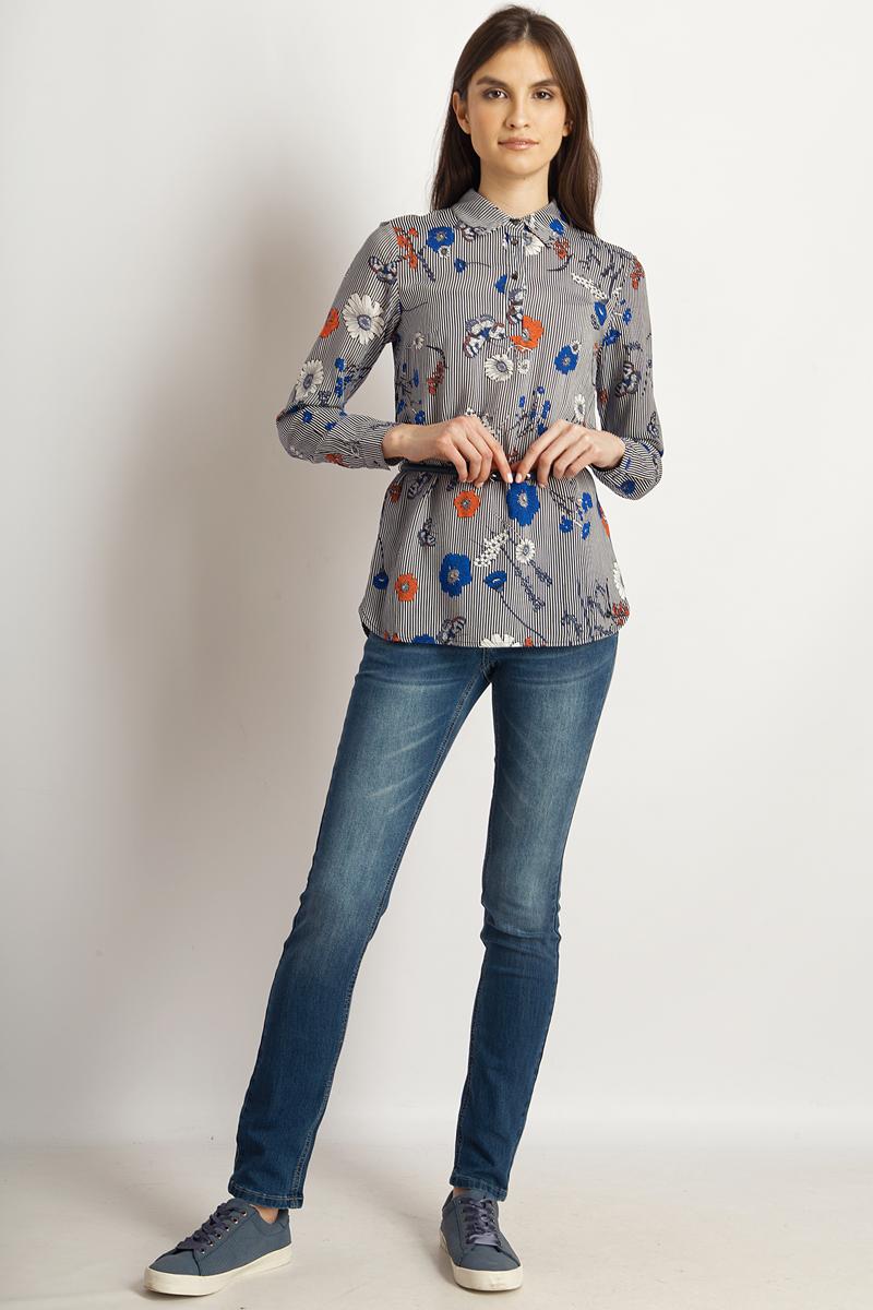 Блузка женская Finn Flare, цвет: темно-синий. B18-32086_101. Размер XL (50) блузка женская finn flare цвет темно синий s17 12040 101 размер xxl 52