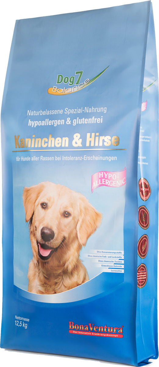 Корм сухой BonaVentura Dog 7 Hipo Allergenic для собак, с кроликом и просом, 12,5 кг205012?Гипоаллергенный корм с единственным источником животного белка - кролик.Не содержат пшеницу, ячмень, рожь, кукурузу и овес, способные вызывать аллергию у собак из-за наличия в них глютена. Без добавление мясокостной муки. При производстве кормов используется 100% свежее мясо.Гарантия качества - все сырье, которое используется в кормах, пригодно в пищу человеку.Состав: Мясо и мясные субпродукты (кролик), зерно (просо), льняное семя, пивные дрожжи, свекольная пульпа, травяная смесь, экстракт юкки, витамины и минералыПищевая ценность: Протеин 22,8%, Жиры 12,4%, Клетчатка 3,6%, Зола 6,8%, Влажность 9,0%, Кальций 1,0%, Фосфор 0,8%, Витамин B1 7,0 мг/кг, Витамин B6 14,0 мг/кг, Витамин B12 120 мкг/кг, Биотин 160 мкг/кг , Железо 110 мг/кг, Медь 10,6мг/кг, Селен 0,49 мг/кг