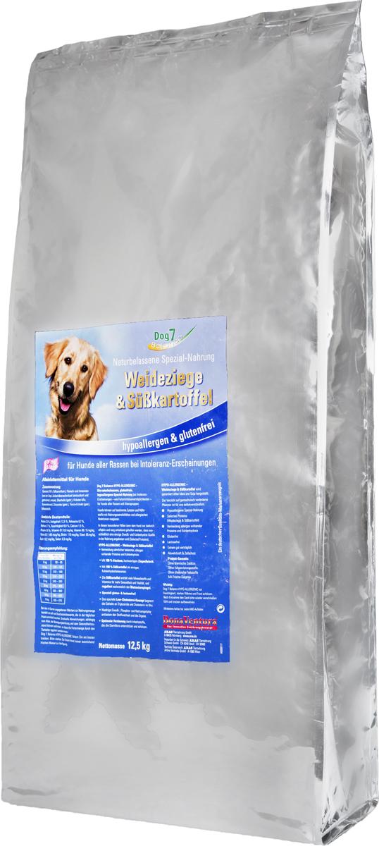 Корм сухой BonaVentura Dog 7 Hipo Allergenic для собак, с козой и бататом, 12,5 кг205213?Гипоаллергенный корм с единственным источником животного белка -коза.Не содержат пшеницу, ячмень, рожь, кукурузу и овес, способные вызывать аллергию у собак из-за наличия в них глютена. Без добавление мясокостной мукиПри производстве кормов используется 100% свежее мясо. Более 50% свежего мяса в составе. Гарантия качества - все сырье, которое используется в кормах, пригодно в пищу человеку.Состав (на основе свежих продуктов): Мясо и мясные субпродукты (коза), овощи (сладкий картофель), свекольная пульпа, льняное семя, пивные дрожжи, травяная смесь, подсолнечное масло, цикорий, экстракт юкки, минералыПищевая ценность: Протеин 22,9%, Жир 12,5%, Клетчатка 3,7%, Зола 8,7%, Влажность 8,8%, Кальций 1,5%, Фосфор 0,9%, Витамин B1 8,0 мг/кг, Витамин B6 15,0 мг/кг, Витамин B12 140 мкг/кг, Биотин 110 мкг/кг , Железо 85 мг/кг, Медь 10,2 мг/кг, Селен 0,3 мг/кг