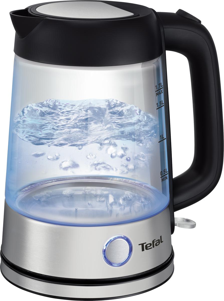 Tefal Glass Kettle KI750D30 чайник электрическийKI750D30Стеклянный чайник Tefal Glass объемом 1,7 л выполнен с элементами из нержавеющей стали. Удобство использования электрического чайника сочетается с элегантностью исполнения вTefal Glass в стеклянном корпусе. Изготовленный из натуральных материалов, чайникполностью сохраняет естественный вкус и минеральный состав воды для приготовлениясамого ароматного чая.Изысканный корпус изготовлен из качественных природных материалов -наслаждайтеськаждым использованиемТермоустойчивое стекло выдерживает резкие перепады температуры и гарантирует долгуюслужбу чайникаСпециальное скрытое расположение нагревательного элемента обеспечивает быстроекипячение воды и легкую очистку чайникаСпециальный фильтр от накипи, расположенный в основании носика, предотвращаетпопадание накипи в вашу чашкуНажатием кнопки широко открывается крышка чайника для удобного наполнения водой илегкой очисткиПодсветка с автоотключением. Наслаждайтесь видом кипящей воды благодаря приятнойподсветке внутри чайникаНажатием кнопки широко открывается крышка чайника для удобного наполнения водой илегкой очисткиКруглое основание с центральным контактом и поворотом на 360° обеспечивает удобноеиспользование и надежную фиксацию беспроводного чайника
