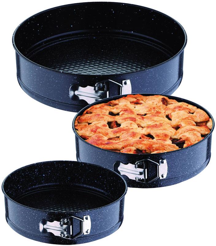 Блюдо для выпечки Rainstahl, цвет: черный, 3 шт. 9710 RS\BT9710 RS\BT3 формы для выпечки. Круглые, разъемные. Черное мраморное покрытие. Можно жарить и выпекать. Удобный зажим-фиксатор. Размеры: 18х6,8см, 20х6,8см, 22х6,8.