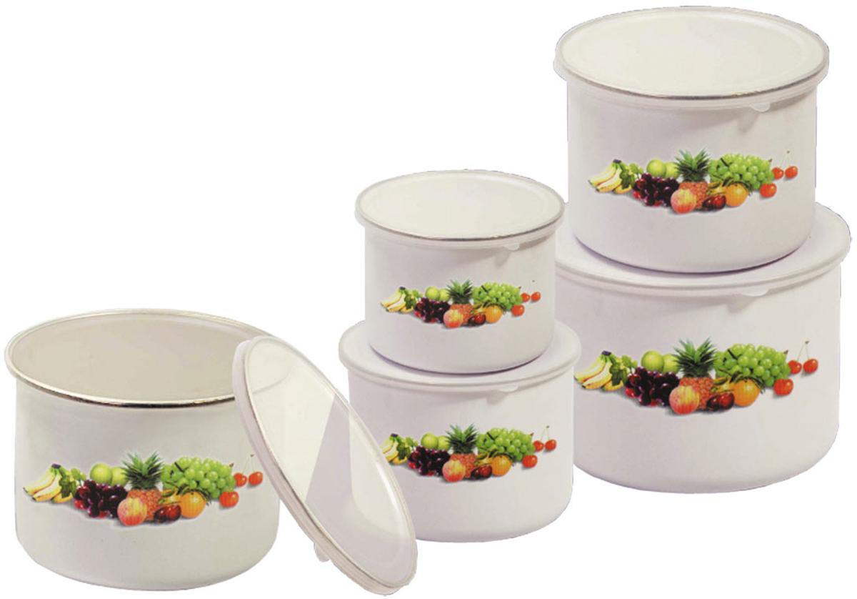 """Набор """"Bohmann"""" состоит из 5 мисок разного объема,  изготовленных из эмалированной стали.  Миски снабжены плотно прилегающими пластиковыми  крышками. Изделия являются универсальным  приобретением для кухни. Предназначены для хранения и  смешивания жидкостей, хранения любых продуктов,  полуфабрикатов и соусов. Если хранить овощи и ягоды в таких  мисках, то они останутся свежими надолго. Миски  складываются друг в друга для компактного хранения.  Нельзя использовать в  микроволновой печи, можно мыть в посудомоечной машине.   Диаметр мисок: 10 см; 12 см; 14 см; 16 см; 18 см. Высота стенок мисок: 6,5 см; 7,5 см; 8,5 см; 9,5 см; 11 см."""