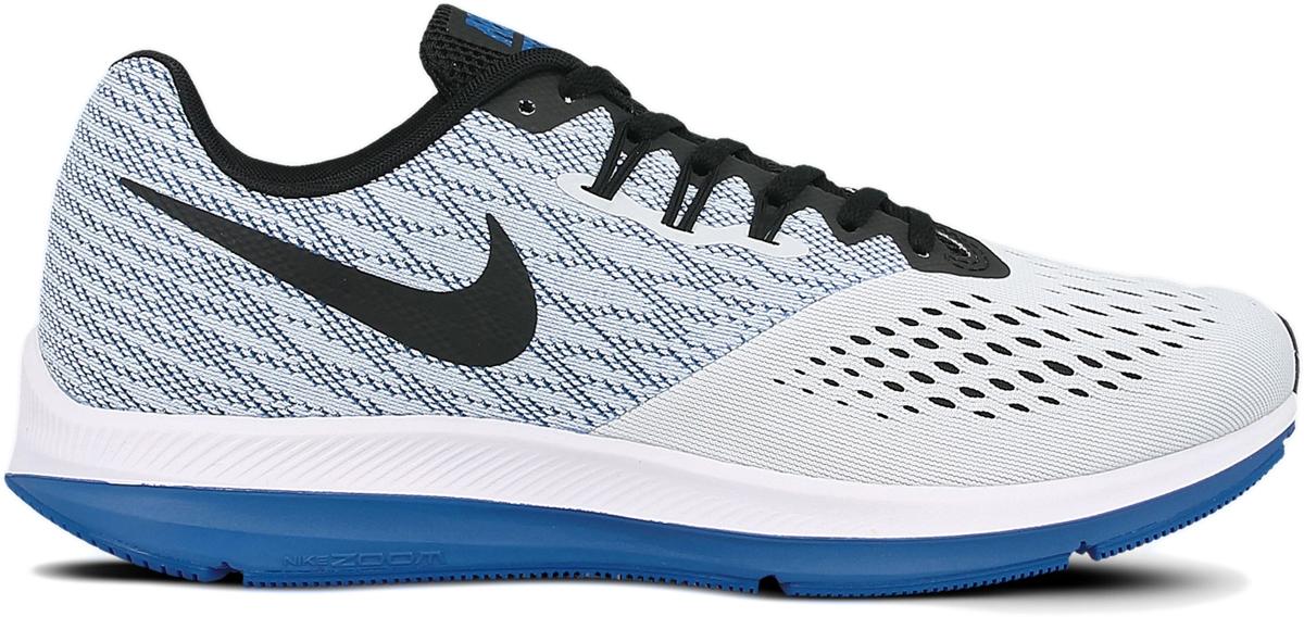Кроссовки для бега мужские Nike Air Zoom Winflo 4, цвет: серый, синий. 898466-010. Размер 10 (43)898466-010Мужские беговые кроссовки Nike Air Zoom Winflo 4 с адаптивной амортизацией и обновленным верхом из сетки Engineered mesh с видимой технологией Flywire обеспечивают идеальную посадку. Адаптивная сетка Engineered mesh в передней части стопы для воздухопроницаемости и поддержки. Вставка Zoom Air обеспечивает непревзойденную защиту от ударных нагрузок. Литой боковой барьер из материала Cushlon для плавного перехода с пятки на носок. Жаккардовый трикотаж в средней части стопы и на пятке обеспечивает стабилизацию и воздухопроницаемость без утяжеления. Полноразмерная вставка из твердой резины в вафельной подметке обеспечивает уверенное сцепление на любых поверхностях. Обновленный защитный барьер Crashrail из материала Cushlon по краям подметки действует как амортизатор при контакте с поверхностью и обеспечивает более мягкий и плавный переход с пятки на носок, чем предыдущие модели. Вес: 255 г (мужской размер 9)Перепад подошвы: 10 ммКолодка: MR-10