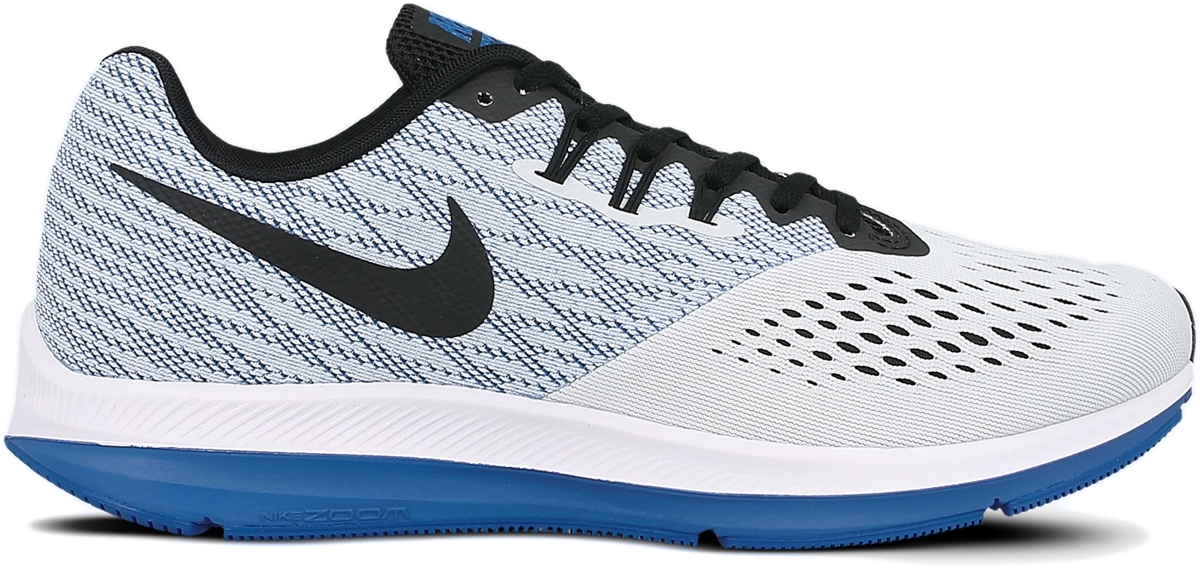 Кроссовки для бега мужские Nike Air Zoom Winflo 4, цвет: серый, синий. 898466-010. Размер 12 (45)