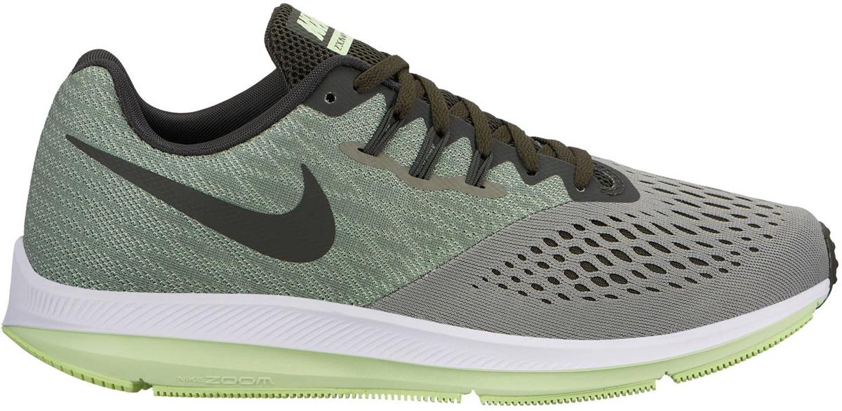 Кроссовки для бега мужские Nike Air Zoom Winflo 4, цвет: серый, зеленый. 898466-011. Размер 12 (45)