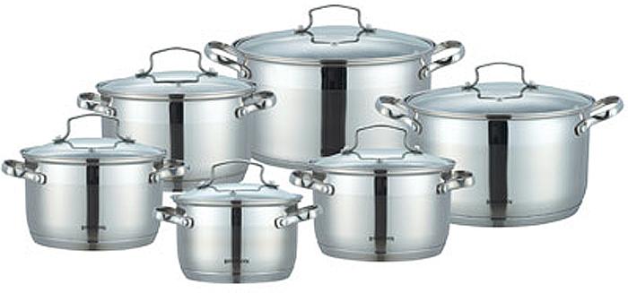 Набор кастрюль Bohmann с крышками, 12 предметов. 1912BH1912BHНабор посуды из нержавеющей стали.