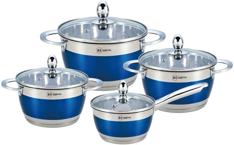 Набор посуды Rainstahl, цвет: синий, 8 предметов. 1818-08RS\CWBlue набор посуды rainstahl 8 предметов 0716bh
