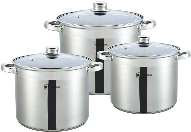 Набор посуды Rainstahl, цвет: серебристый, 6 предметов. 1631-06RS\CW1631-06RS\CWНабор посуды из нержавеющей стали. Стеклянный крышки. 6пр. 3-х шаговое дно. Состав: Кастрюли с крышками: 24х20см - 9,5л; 26х21см - 12,0л; 28х22см - 14,0л