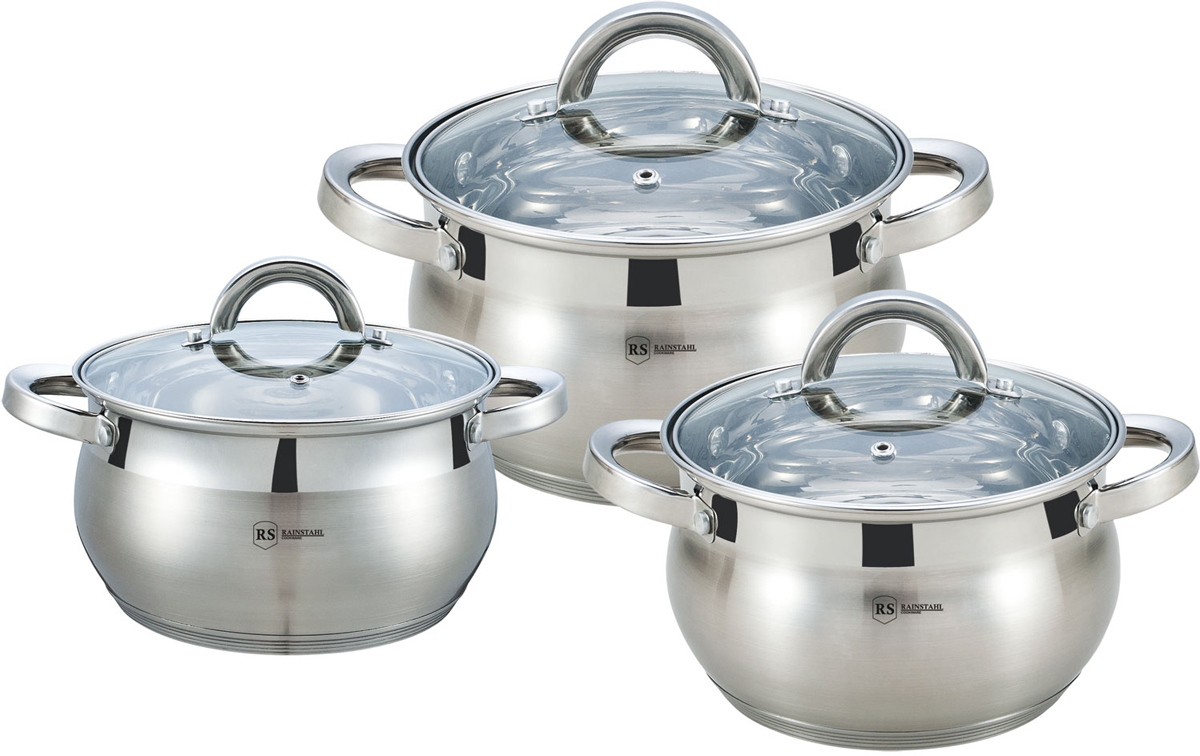 Набор посуды Rainstahl, цвет: серебристый, 6 предметов. 1627-06RS\CW1627-06RS\CWНабор посуды из нержавеющей стали. Стеклянный крышки. 6пр. 5-ти шаговое дно. Состав: Кастрюли с крышками: 18х11,5см - 2,9л; 20х12,5см - 3,9л; 22х13,5см - 5,1л.