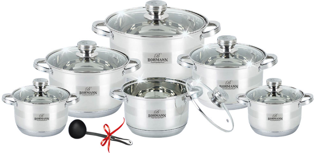 Набор посуды Bohmann, цвет: серебристый, 12 предметов. 1275BHS кастрюля пароварка bohmann с крышкой 4 уровневая 2 5 л