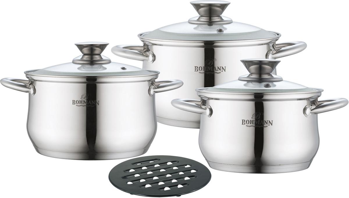 Набор посуды Bohmann, цвет: серебристый, 7 предметов. 0113BH набор кухонных ножей bohmann на подставке 7 предметов