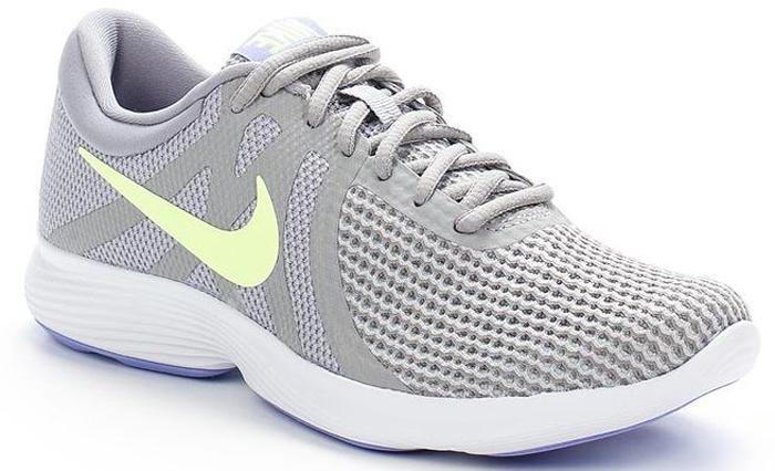 Кроссовки для бега женские Nike Revolution 4 (EU), цвет: серый. AJ3491-003. Размер 6,5 (36,5)AJ3491-003Женские кроссовки для бега Revolution 4 (EU) от Nike в минималистичном стиле выполнены из легкой однослойной сетки для воздухопроницаемости и мягкого пеноматериала для невероятного комфорта и упругости. Верх из сетки для оптимальной воздухопроницаемости. Мягкая подошва из пеноматериала обеспечивает оптимальную амортизацию без утяжеления. Резиновая подметка для надежного сцепления. Нижние накладки на мыске и носке для поддержки и прочности конструкции. Литые накладки обеспечивают сцепление на разных поверхностях. Накладки поглощают ударные нагрузки при отскоке в области носка, создавая эффект поршня для адаптивной амортизации. Перепад: 10 мм. Колодка: MR-10.