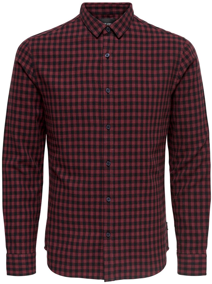 Рубашка мужская Only & Sons, цвет: коричневый. 22008738_Madder Brown. Размер XL (52)22008738_Madder Brown
