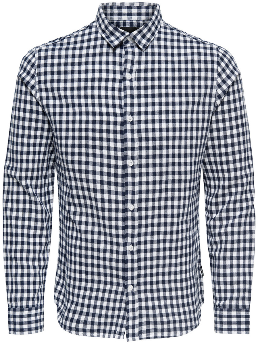 Купить Рубашка мужская Only & Sons, цвет: синий. 22008738_Dark Sapphire. Размер M (48)