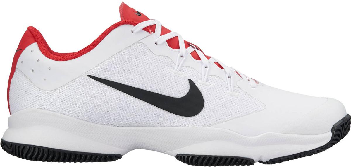 Кроссовки для тенниса мужские Nike Air Zoom Ultra, цвет: белый, красный. 845007-160. Размер 10 (43)845007-160Мужские кроссовки для тенниса Air Zoom Ultra от Nike подходят для игры в зале и на кортах с любым покрытием. Модель выполнена из многослойного сетчатого материала и дополнена накладками из синтетической кожи на передней части стопы. Нити Flywire создают динамическую фиксацию. Подкладка и стелька из текстиля комфортны при движении. Шнуровка надежно зафиксирует модель на ноге. Вставки Zoom Air в передней части стопы обеспечивают оптимальную амортизацию. Подметка из износостойкой резины для надежного сцепления с поверхностью и исключительной прочности.