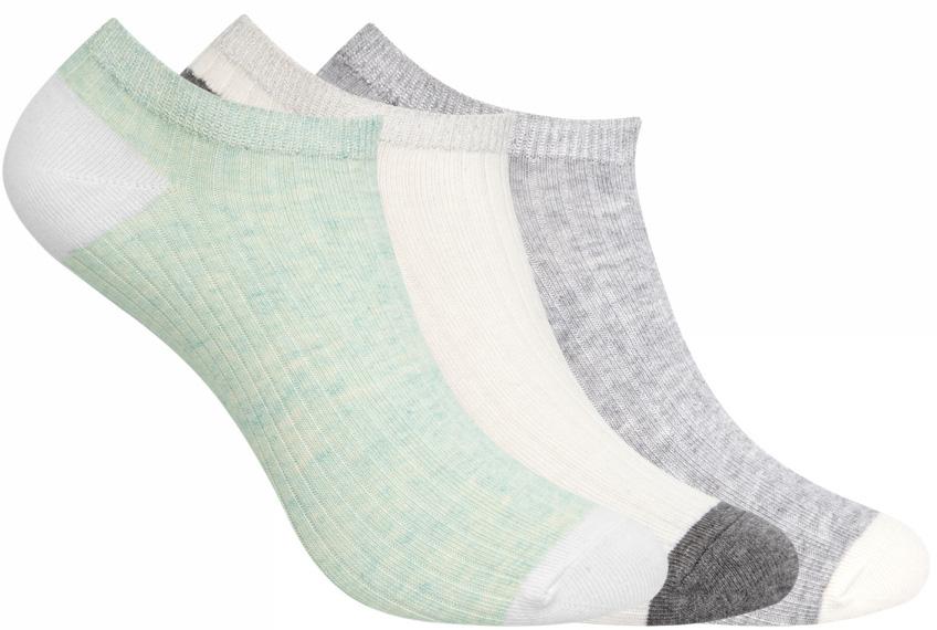 Носки женские oodji, цвет: мятный, кремовый, серый, 3 пары. 57102476T3/48412/19F9B. Размер 38/4057102476T3/48412/19F9BКомплект от oodji состоит из трех пар укороченных носков. Носки выполнены из эластичного хлопкового материала с эластичной резинкой на паголенке.