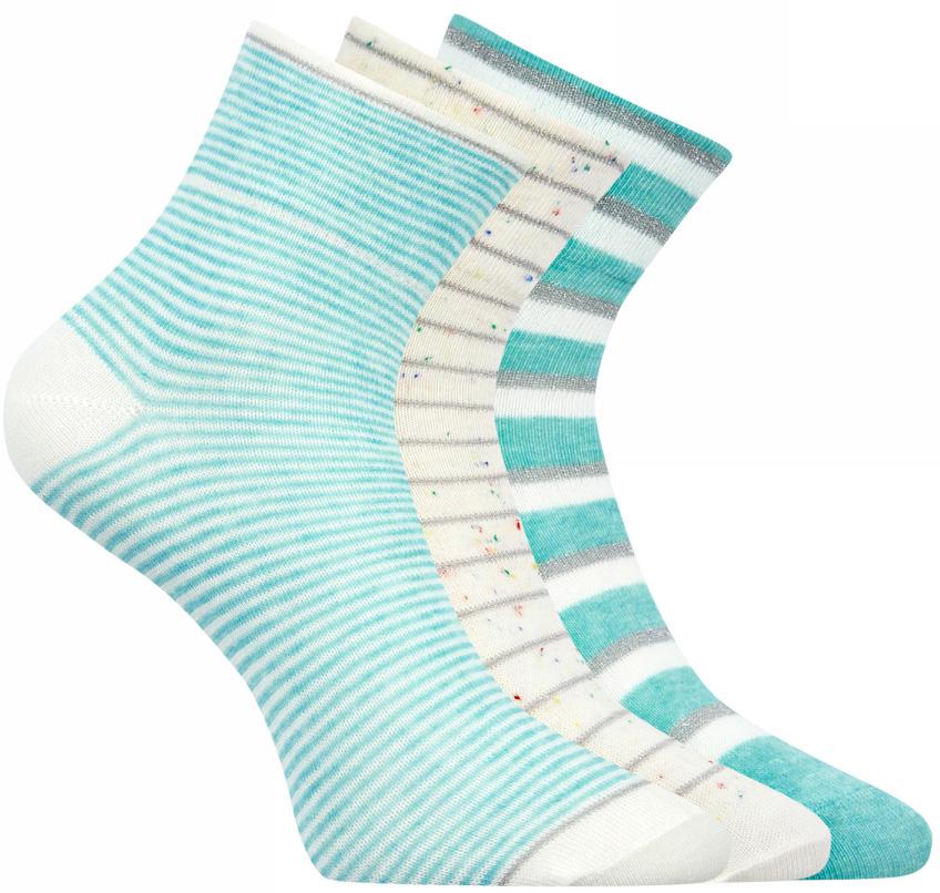 Носки женские oodji, цвет: бирюзовый, белый, серый, 3 пары. 57102475T3/42015/19F3S. Размер 35/37 jd коллекция светло телесный 12 пар носков 15d две кости размер
