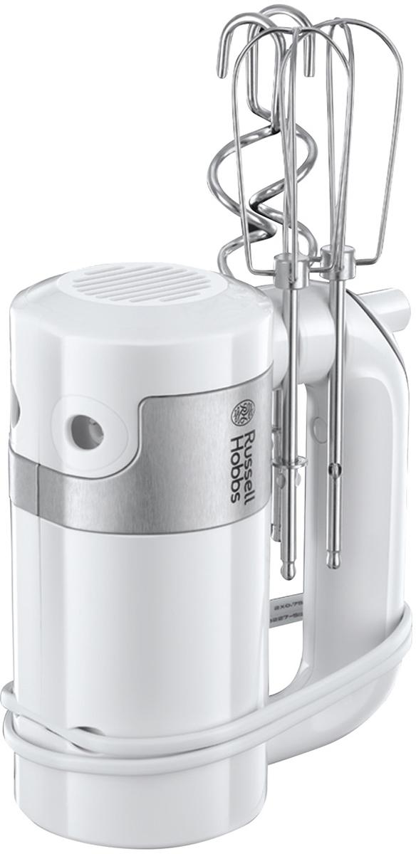 Russell Hobbs 22960-56 EasyPrep, White ручной миксер22960-56Ручной миксер из новой коллекции приборов для кухни EasyPrep удобен и в работе, и в хранении. Венчики и крюки удобно фиксируются на корпусе, таким образом при хранении аксессуары никогда не потеряются. Миксер имеет 4 режима скорости для различных целей. Кнопки с защитным прорезиненным покрытием без зазоров с корпусом, так мука, тесто или масло не будут забиваться между кнопками, а миксер легко содержать в чистоте, протерев его влажной тканью.•4 режима скорости + режим Турбо. Электронное управление. •Прорезиненные кнопки заподлицо с корпусом для удобства протирки. •Глянцевый корпус с отделкой из матовой нержавеющей стали. •Венчики и крюки для теста из нержавеющей стали. •Зажимы на корпусе миксера для фиксации шнура и хранения насадок. •В комплекте 2 венчика и 2 крюка для замешивания теста. •Насадки можно мыть в посудомоечной машине. •Кнопка быстрой смены насадок.•Мощность 500 W.