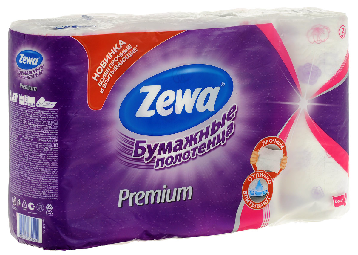 Полотенца бумажные Zewa Premium, 2 слоя, 4 рулонаУТ000051890Бумажные полотенца Zewa Premium - незаменимый помощник современной хозяйки. Благодаря своей специальной текстуре они прочные и отлично впитывают влагу! С их помощью можно легко вытереть пролитую жидкость, отполировать до блеска стекла или посуду, очистить поверхность.Белые 2-х слойные прочные бумажные полотенца с цветным рисунком, 4 рулона в упаковке.Состав: целлюлоза. Производство: Россия
