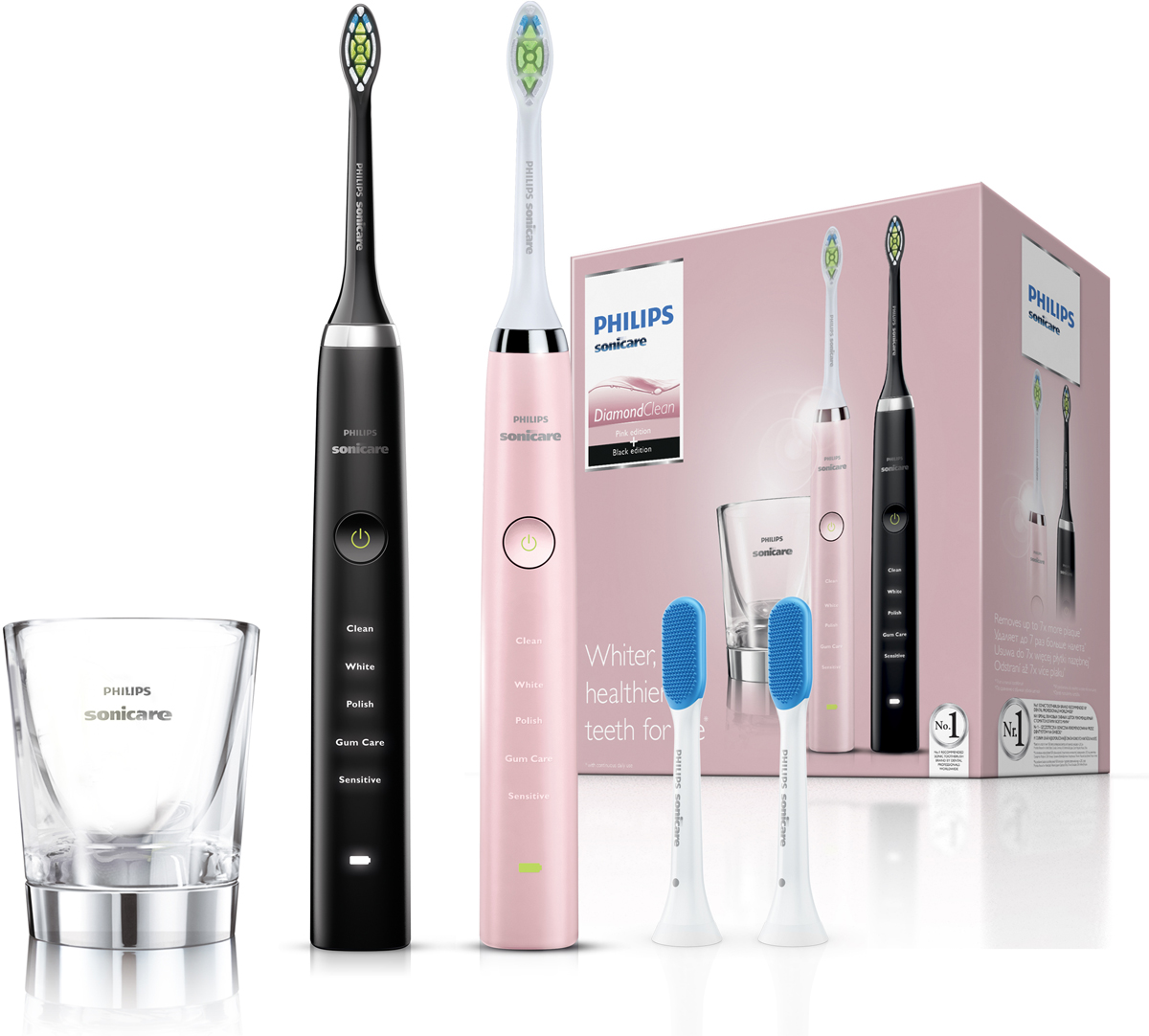 Philips HX9368/35, Black Pink набор электрических зубных щеток, 2 шт glass cup for charger hx9100 sonicare diamondclean toothbrush hx9340 hx9342 hx9313 hx9333 hx9362 hx9382 hx9302 hx9350 6530 6930