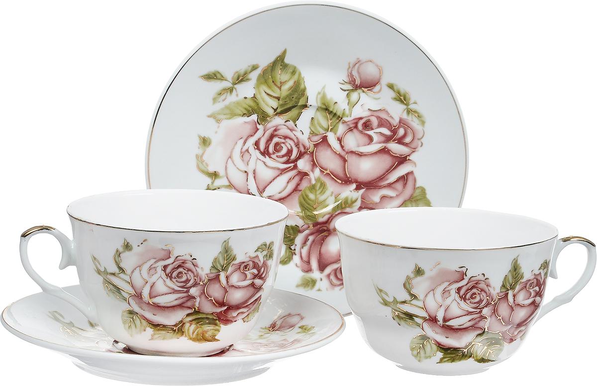 Набор чайный Briswild Коралловые розы, 4 предмета545-779Набор чайный Коралловые розы, выполненный из высококачественного фарфора белого цвета.На предметах набора изображены розы. Изящный дизайн оформления придется по вкусу и ценителям классики, и тем, кто предпочитает утонченность и изысканность. Такой набор отлично подойдет для красивой сервировки стола.