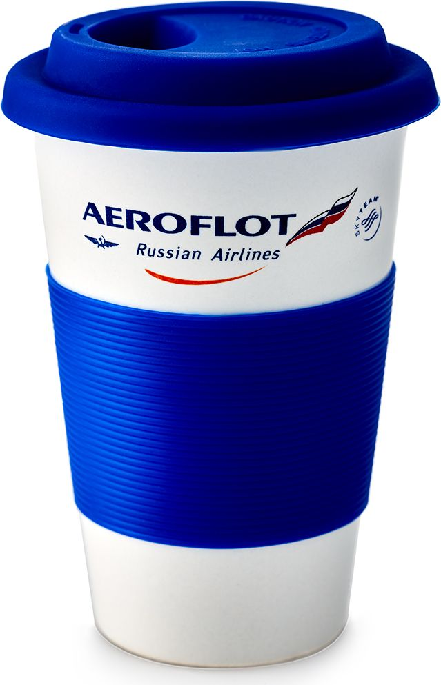 Термокружка Аэрофлот, цвет: белый, 350 мл