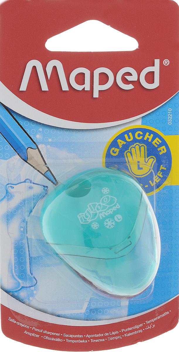 Maped Точилка Gloo с контейнером для левшей цвет бирюзовый точилка пластиковая maped boogy 2 отверстия с контейнером