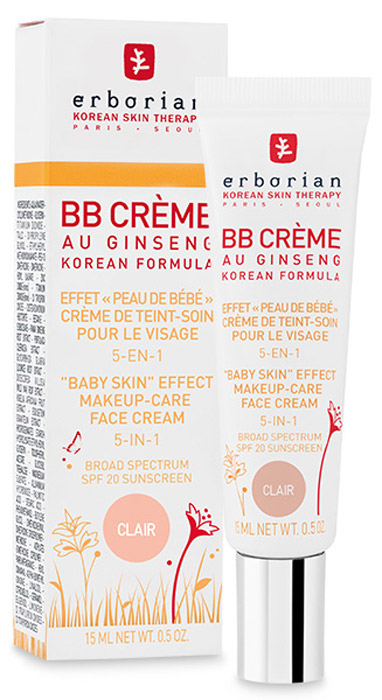 Erborian Крем для лица BB Creme, 5-в-1, SPF 20, тон: светлый, 15 мл221.12Крем для лица Erborian BB Creme предназначен для всех женщин, которые хотят,чтобы кожа выглядела естественно, но более привлекательно. Текстура крема легкая, шелковистая, тающая окутывает кожу мягкой вуалью, скрываетнесовершенства и создает эффект естественно безупречной кожи. Кремухаживает за кожей, создает однородный тон, естественный матовый эффект,выравниваеттон кожи, скрывает недостатки, увлажняет, питает, разглаживает мелкие и болееглубокие морщины. Защищает от воздействия УФ-лучей, делает кожу мягкой,нежной и шелковистой, как у младенца. Действует 12 часов. Товар сертифицирован.