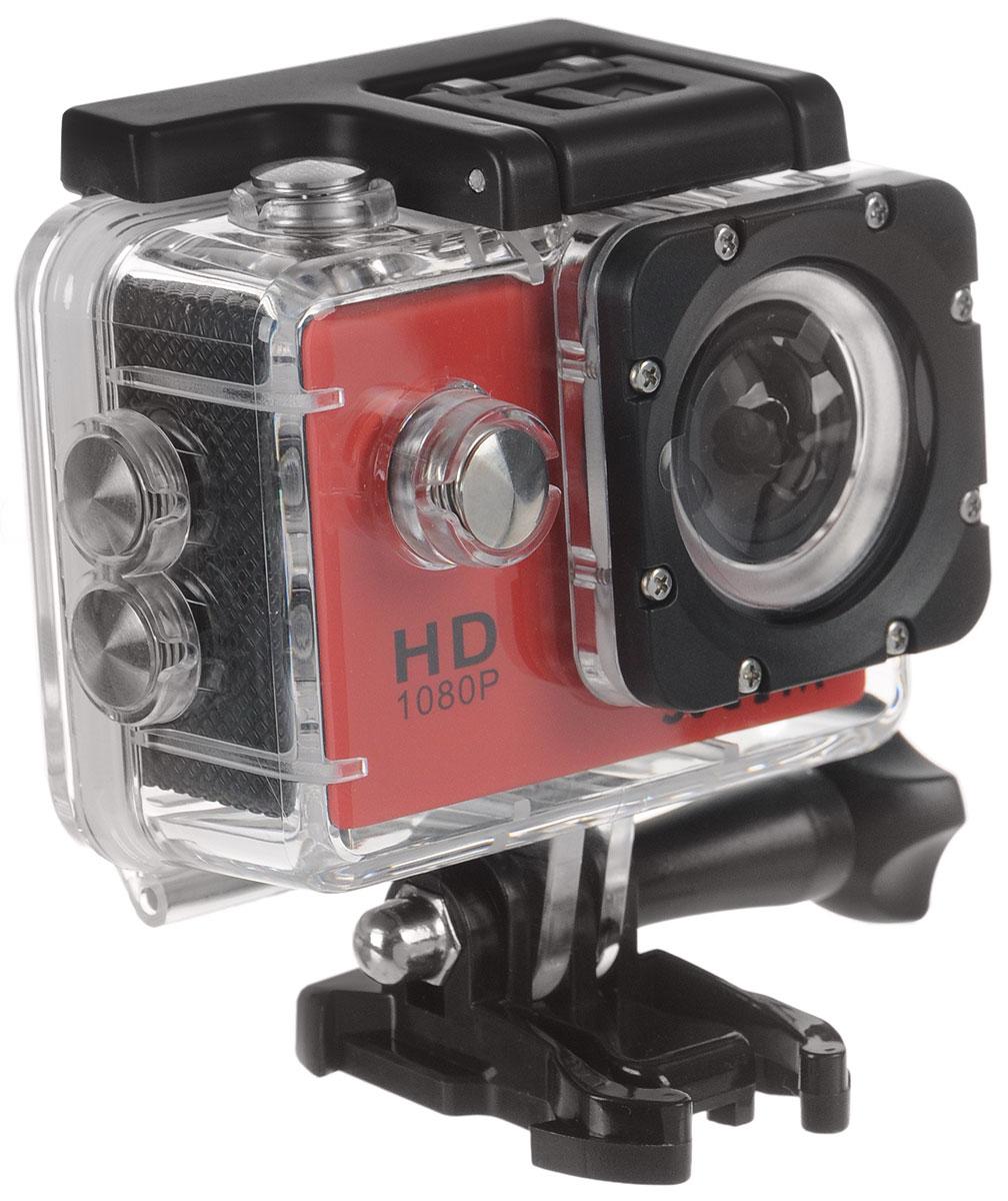 SJCAM SJ4000, Red экшн-камераSJCAM SJ4000 (red)SJCAM SJ4000 - это недорогой и качественный аналог GoPro. С ее помощью можно снимать экстремальные события,закрепив камеру в удобном месте. Вы также можете делать впечатляющие съёмки под водой на глубине до 30метров благодаря водонепроницаемому боксу в комплекте.Благодаря режиму цейтаоферной съёмки камера SJCAM может сжимать многочасовые события (например,расцветающую розу) до нескольких секунд. Теперь восход солнца после съёмки произойдёт прямо на глазахваших друзей! SJCAM SJ4000 может быть использована в качестве видеорегистратора благодаря возможности циклическойзаписи. Для этого разместите её на стекле автомобиля с помощью специального крепления и нажмите на кнопкузаписи.Данную модель можно использовать и в качестве Full HD веб-камеры. Всё, что необходимо сделать - этоподключить SJCAM к компьютеру через кабель USB и запустить Skype.Камера SJ4000 подойдёт практически для любых видов спорта. В комплекте вы найдёте крепления на велосипед,на шлем, липучки и ремни, позволяющие закрепить камеру на любые поверхности.Процессор: Novatek NT96650 Дисплей: LCD, 1,5 (4:3) Емкость аккумулятора: 900 мАч Время автономной работы: до 80 минут