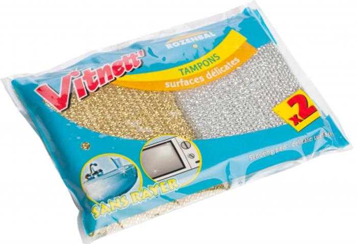 Губка для посуды Rozenbal, для мягкой чистки, цвет: серебристый, золотистый, 2 шт. R106003R106003Губки Rozenbal предназначены дляинтенсивной чистки и удаления сильных загрязнений с посуды(противни, решетки-гриль, кастрюли, сковороды), такжеподходят для чистки раковин. Могут использоваться дляделикатных поверхностей.Губки сохраняют чистоту и свежесть даже после многократногоприменения, а их эргономичная форма удобна для руки. Размер: 2,5 х 6,5 х 11 см.