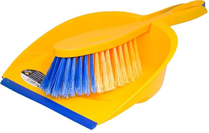 Комплект для уборки Rozenbal, совок и щетка, материал: пластик, софт фил, цвет: синий, желтый. R500551R500551