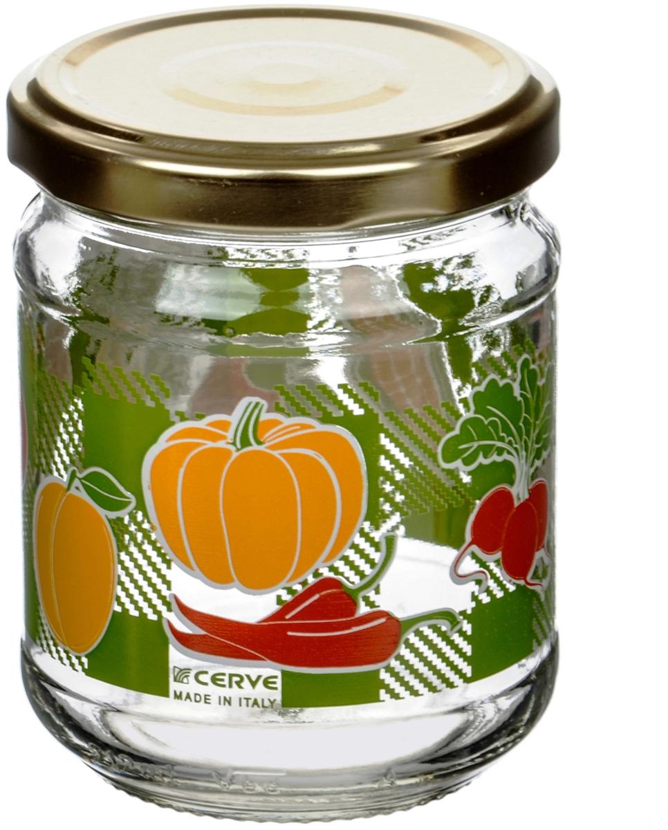 Банка для сыпучих продуктов Cerve Овощи, 200 млCEM65900Банка для сыпучих продуктов Cerve Овощи итальянского производства изготовлена из прозрачного толстостенного стекла. Декорирована яркими рисунками овощей. Банка имеет закручивающуюся крышку из пищевой жести, покрытой пищевым лаком и эмалью. Деколи стойки к истиранию и со временем не будут ржаветь.