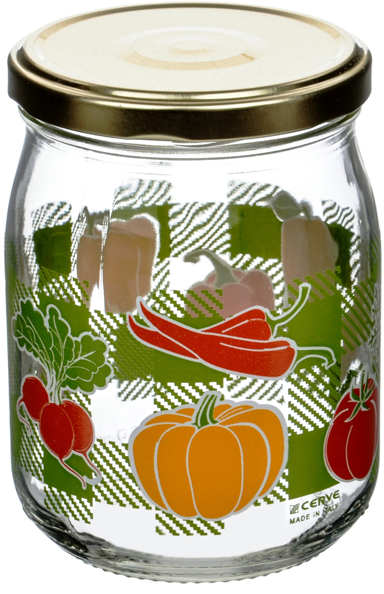 """Банка для сыпучих продуктов Cerve """"Овощи"""" итальянского производства изготовлена из прозрачного толстостенного стекла. Декорирована яркими рисунками овощей. Банка имеет закручивающуюся крышку из пищевой жести, покрытой пищевым лаком и эмалью. Деколи стойки к истиранию и со временем не будут ржаветь."""