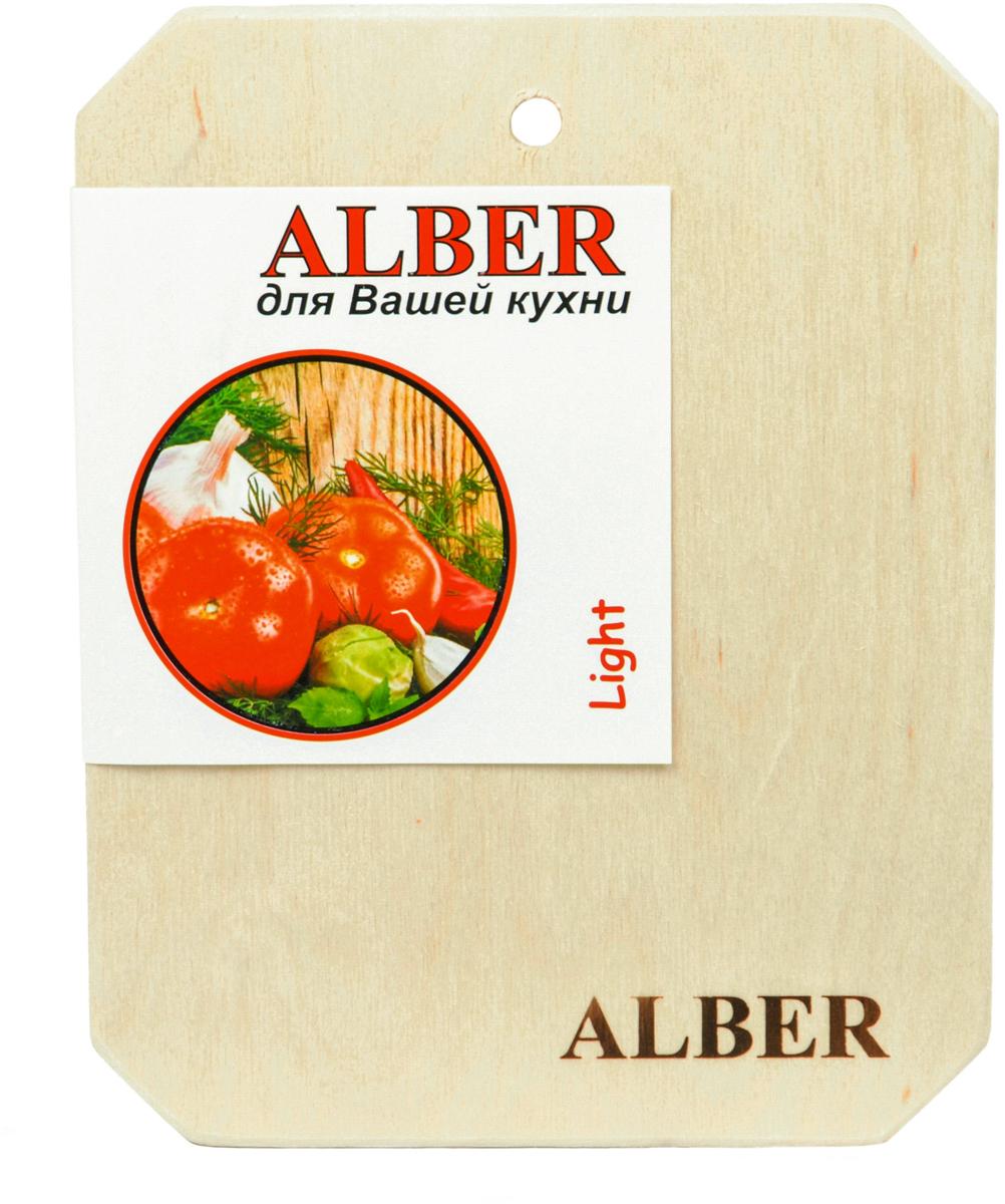 Alber - российская торговая марка кухонных аксессуаров из натуральной российской березы.  Доски из березы Alber отличает отменное качество, будь то обычная, без затей, круглая доска или прямоугольная доска с канавкой и металлической ручкой.  Прочные, гладкие, с естественной березовой текстурой, доски обработаны льняным маслом для предохранения от рассыхания.  Изделия имеют индивидуальную пленочную упаковку и оригинальную гравировку, придающую доскам особый шик. Чтобы деревянное изделие прослужило как можно дольше, рекомендуем придерживаться нескольких простых правил:   - нельзя мыть деревянную доску в посудомоечной машине, а также оставлять надолго погруженной в воду;  - после каждого использования нужно промыть доску мыльной водой, тщательно сполоснуть проточной водой и вытереть насухо;  - хранить доски лучше в подвешенном состоянии или просто поставив вертикально;  - новую сухую доску (если она не обработана) перед началом нужно смазать маслом; масло должно быть безопасным и устойчивым к порче при комнатной температуре (оптимальный вариант - льняное масло, в отличие от подсолнечного или оливкового, которые со временем портятся); повторять эту процедуру необходимо в среднем раз в месяц - по мере высыхания масла;  - заменять разделочную доску на кухне рекомендуется 1 раз в год.