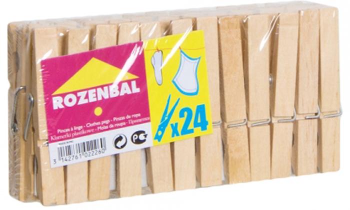 Прищепки Rozenbal, деревянные, 24 шт. R102226R102226Прищепки Rozenbal, изготовленные из дерева, станут незаменимым аксессуаром для любой хозяйки. Теперь домашние хлопоты будут приносить вам удовольствие.