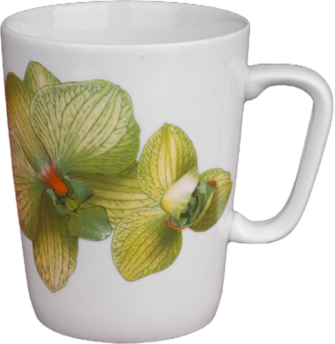 Кружка Дулевский Фарфор Конус. Орхидея, цвет: зеленый, 350 мл кружка мини сувенирная 20мл фарфор