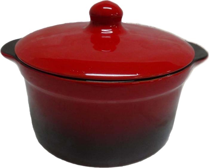 Кастрюля для запекания Борисовская керамика Красный с крышкой, 1 л