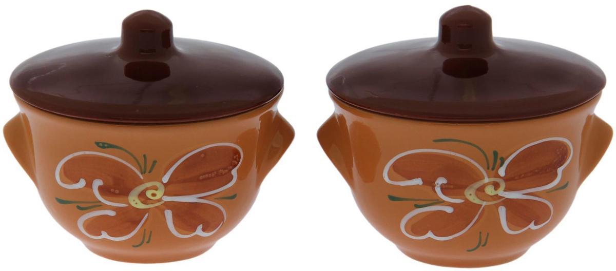 Набор горшочков для запекания Борисовская керамика Лакомка №2, 400 мл, 2 штОБЧ00000016Набор 2 горшка для жаркого Лакомка №2 (к) ОБЧ00000016. Материал: Керамика. Объем: 0,65