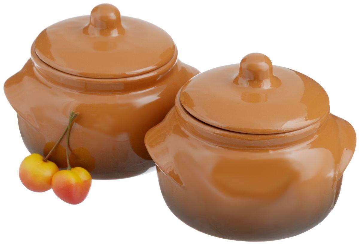 Набор кастрюль для запекания Борисовская керамика Стандарт с крышкми, 500 мл, 4 предмета kitchenaid kblr04nsac набор из 4 керамических кастрюль для запекания cream